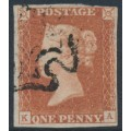 GREAT BRITAIN - 1841 1d red-brown QV, plate 9, check letters KA, used – SG # 7