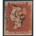 GREAT BRITAIN - 1843 1d red-brown QV, plate 39, check letters FH, used – SG # 8