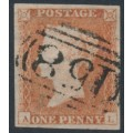 GREAT BRITAIN - 1851 1d red-brown QV, plate 120, check letters AL, used – SG # 8