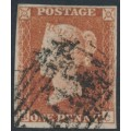 GREAT BRITAIN - 1851 1d red-brown QV, plate 121, check letters BC, used – SG # 8
