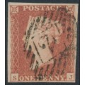 GREAT BRITAIN - 1851 1d red-brown QV, plate 106, check letters SJ, used – SG # 8