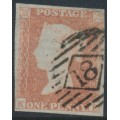 GREAT BRITAIN - 1851 1d red-brown QV, plate 122, check letters KK, used – SG # 8