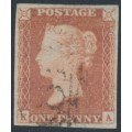 GREAT BRITAIN - 1851 1d red-brown QV, plate 123, check letters KA, used – SG # 8