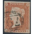 GREAT BRITAIN - 1851 1d red-brown QV, plate 127, check letters AJ, used – SG # 8