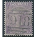 GREAT BRITAIN - 1865 6d lilac Queen Victoria, Emblems watermark, plate 5, used – SG # 97