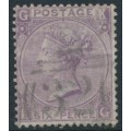 GREAT BRITAIN - 1867 6d lilac Queen Victoria, Spray of Rose watermark, plate 6, used – SG # 104