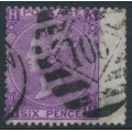 GREAT BRITAIN - 1869 6d mauve Queen Victoria (without hyphen), Spray of Rose watermark, used – SG # 109