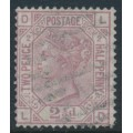 GREAT BRITAIN - 1875 2½d rosy mauve Queen Victoria, Small Anchor watermark, plate 2, used – SG # 139