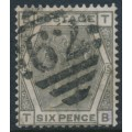 GREAT BRITAIN - 1876 6d grey Queen Victoria, Spray of Rose watermark, plate 15, used – SG # 147