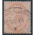 GREAT BRITAIN - 1881 1/- orange-brown QV, Imperial Crown watermark, plate 13, used – SG # 163