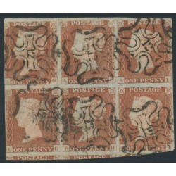 GREAT BRITAIN - 1841 1d red-brown QV, plate 20, in a block of 6 with '12' Maltese Cross cancels