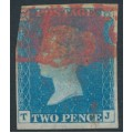 GREAT BRITAIN - 1840 2d pale blue Queen Victoria, imperforate, plate 1, check letters TJ, used – SG # 6