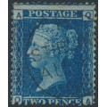 GREAT BRITAIN - 1858 2d blue Queen Victoria, narrow lines, plate 9, check letters AQ/QA, used – SG # 45