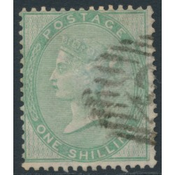 GREAT BRITAIN - 1856 1/- pale green Queen Victoria, Emblems watermark, thick paper, used – SG # 73b