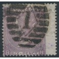 GREAT BRITAIN - 1865 6d deep lilac Queen Victoria, inverted Emblems watermark, plate 5, used – SG # 96Wi