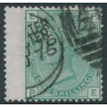 GREAT BRITAIN - 1875 1/- green QV, plate 12, spray of rose watermark, used – SG # 150