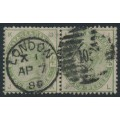 GREAT BRITAIN - 1883 4d dull green Queen Victoria, horizontal pair, used – SG # 192