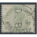 GREAT BRITAIN - 1883 9d dull green Queen Victoria, private perfin., used – SG # 195