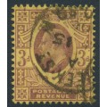 GREAT BRITAIN - 1902 3d dull reddish purple/yellow (lemon back) KEVII definitive, used – SG # 233