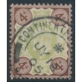 GREAT BRITAIN - 1902 4d green/chocolate-brown KEVII definitive, used – SG # 236