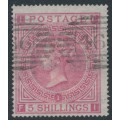 GREAT BRITAIN - 1867 5/- rose QV, Maltese Cross watermark, plate 1, used – SG # 126