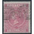 GREAT BRITAIN - 1867 5/- rose QV, Maltese Cross watermark, plate 1, used – SG # 127