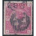 GREAT BRITAIN - 1883 5/- crimson Queen Victoria, anchor watermark, used – SG # 181