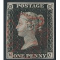 GREAT BRITAIN - 1840 1d black QV (penny black), plate 1a, check letters MC, used – SG # 2