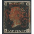 GREAT BRITAIN - 1840 1d intense black QV (penny black), plate 8, check letters AG, used – SG # 1