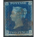 GREAT BRITAIN - 1840 2d blue Queen Victoria, imperforate, plate 2, check letters NI, used – SG # 5