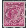 GREAT BRITAIN - 1902 5/- bright carmine KEVII definitive, used – SG # 263