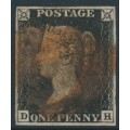 GREAT BRITAIN - 1840 1d intense black QV (penny black), plate 8, check letters DH, used – SG # 1