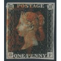 GREAT BRITAIN - 1840 1d intense black QV (penny black), plate 9, check letters DF, used – SG # 1