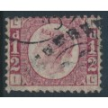 GREAT BRITAIN - 1870 ½d rose-red Queen Victoria 'Bantam', plate 12, used – SG # 48