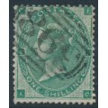 GREAT BRITAIN - 1862 1/- deep green Queen Victoria, Emblems watermark, used – SG # 89