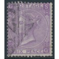 GREAT BRITAIN - 1869 6d dull violet QV (without hyphen), Spray of Rose watermark, plate 8, used – SG # 108