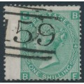 GREAT BRITAIN - 1867 1/- green Queen Victoria, plate 4, Spray of Rose watermark, used – SG # 117