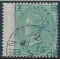 GREAT BRITAIN - 1871 1/- green Queen Victoria, plate 6, Spray of Rose watermark, used – SG # 117