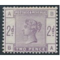 GREAT BRITAIN - 1883 2d lilac Queen Victoria, crown watermark, MH – SG # 189