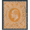 GREAT BRITAIN - 1911 4d bright orange King Edward VII definitive, perf. 15:14, used – SG # 286