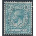 GREAT BRITAIN - 1913 10d turquoise-blue King George V, simple cypher watermark, used – SG # 394