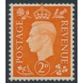GREAT BRITAIN - 1938 2d orange KGVI definitive, sideways GVIR crown watermark, MNH – SG # 465a
