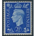 GREAT BRITAIN - 1937 2½d ultramarine KGVI definitive, sideways GVIR crown watermark, MH – SG # 466a