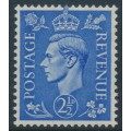 GREAT BRITAIN - 1942 2½d pale ultramarine KGVI definitive, sideways GVIR crown watermark, MNH – SG # 489a