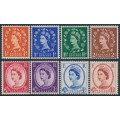 GREAT BRITAIN - 1958 ½d to 4½d QEII definitives set of 8 with graphite lines, MNH – SG # 587-594
