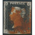 GREAT BRITAIN - 1840 1d intense black QV (penny black), plate 4, check letters FJ, used – SG # 1