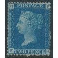 GREAT BRITAIN - 1869 2d blue Queen Victoria, plate 15, letters HE/EH, unused – SG # 47