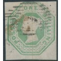 GREAT BRITAIN - 1847 1/- pale green embossed Queen Victoria, die 2, used – SG # 56