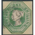 GREAT BRITAIN - 1847 1/- green embossed Queen Victoria, used – SG # 55