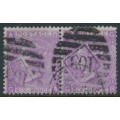 GREAT BRITAIN - 1867 6d purple QV, plate 6, spray of rose watermark, pair, used – SG # 106